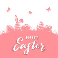 Pink background with Easter eggs and rabbit ears