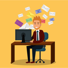 businessman in the office with e-mail marketing icons
