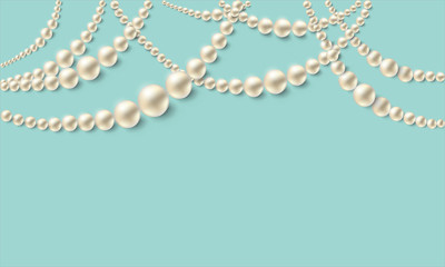 Realistic pearl necklaces over turquoise background. Vector