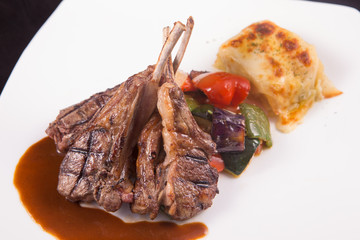 Lamb chops steak with sauteed vegetables and mashed potato