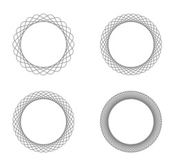Collection of 4 black line spirograph abstract elements - 4 different geometric ornaments flower like, symmetry, isolated on white; colored with black to white to black color transition
