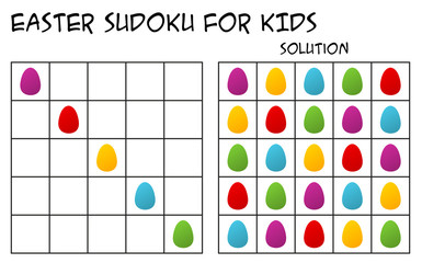 Sudoku for kids with solution, puzzle for children to complete each row or column with just one of each shapes, mental task, logical but easy challenge, seasonal Easter theme with colorful eggs