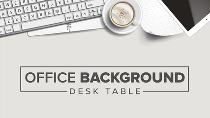Business Workplace Background Vector. Laptop, Computer, Keyboard, Coffee Cup, Smartphone, Notebook. Corporate Creative Banner Design. Illustration