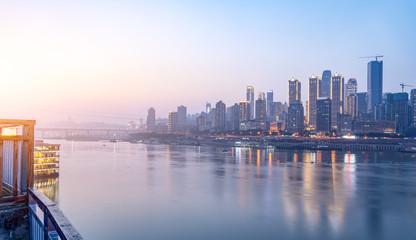 Chongqing's beautiful city night view skyline