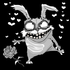 cartoon scary in love rabbit in black and white coloring