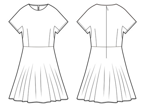 Dress Onepiece fashion flat technical drawing template