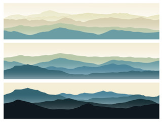 Set of mountains seamless backgrounds. Green nature landscapes in the summer evening. Vector horizontal banners.