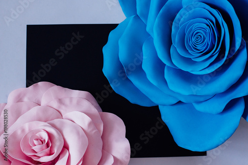 Giant Blue And Pink Artificial Flowers On A Black And White
