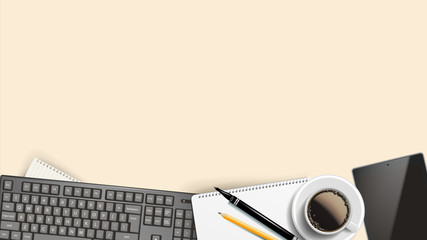 Workplace Background Vector. Place For Text. Desktop Modern Devices. Realistic Illustration