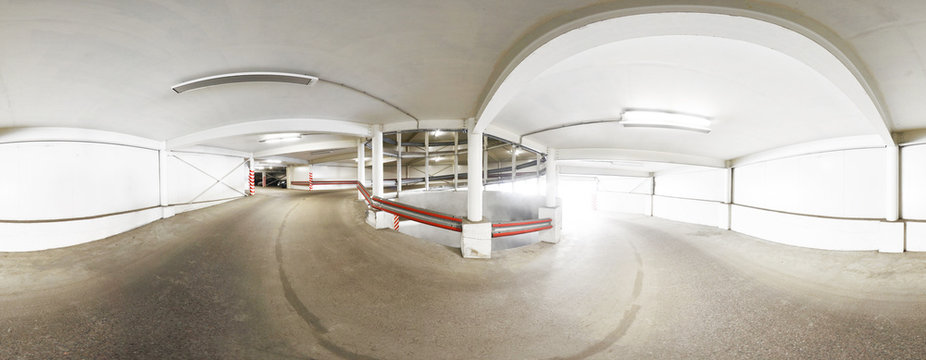 Panorama 360 degrees, congress spiral on the road to multi-level parking.