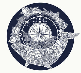 Whale and compass tattoo and t-shirt design. Antique compass and floral whale tattoo art. Mystical symbol of adventure, dreams. Travel, outdoors art