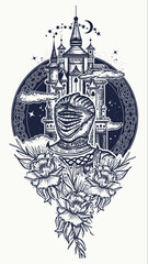 Medieval knight and castle tattoo art. Symbol of the fairy tale, dream, magic. Medieval castle t-shirt design