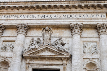 Facade decoration on ancient cathedral in Rome