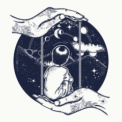 Boy on a swing in mountains, dreamer tattoo art. Lunar phases and Universe. Dreaming genius t-shirt design. Boy looks at stars. Symbol of poetry, psychology, philosophy, astronomy, science