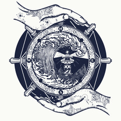 Lighthouse and storm tattoo. Large tsunami waves, lighthouse, compass tattoo and t-shirt design. symbol of hiking, adventures graphic style