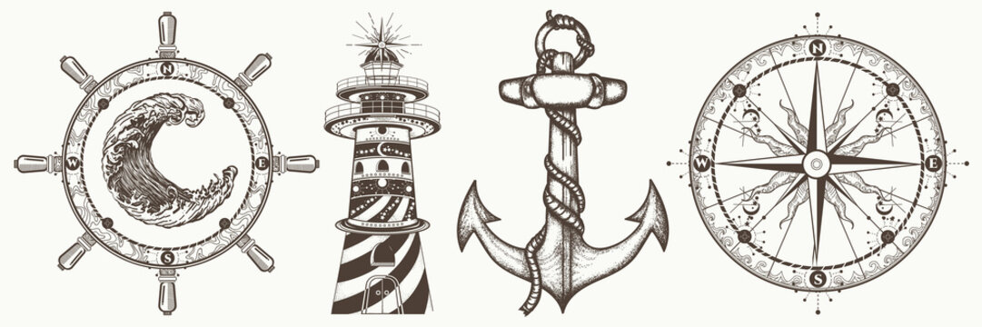 Sea collection vintage elements vector. Symbols of  adventure voyage, tourism, outdoor. Hand drawn retro set. Anchor, steering wheel, compass, lighthouse, wave
