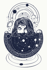 Girl and space, goodnes woman and galaxy t-shirt design. Woman in space tattoo art. Surreal girl sinks in universe. Symbol of magic, esoterics, astrology