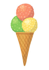 Cute vector cartoon illustration with colorful ice-cream isolated on white background. Three balls in wafer cone.