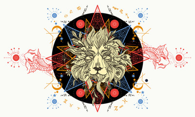 Lion and carps tattoo art, mystical geometric alchemy symbol. Alchemy, religion, spirituality, occultism, tattoo lion art. Concept of magic, science, astrology. Mystic Lion sketch tattoo