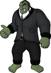 Funny art with orc businessman in black modern costume on white background