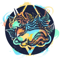 Unicorn in triangle t-shirt design. Magic unicorn tattoo art. Symbol of fantasy, dreams, souls