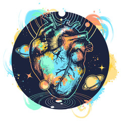 Surreal heart t-shirt design. Anatomic heart among galaxies and planets. Heart in space tattoo. Symbol of love, philosophy, psychology, imagination, dream