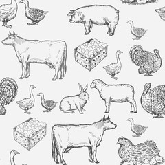 Farm animals seamless pattern cow, goose, chicken, pig, goat, rabbit, ink vintage farm animals pattern, engraving style