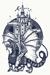 Dragon and castle tattoo art. Symbol force, fantasy, fairy tale. Strong dragon and medieval castle, t-shirt design