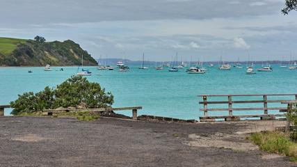 View of Islington bay from the Coastal track on Rangitoto island New Zealand