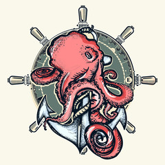 Octopus and anchor. Symbol of a sea adventure, ocean. Big octopus braids an old anchor t-shirt design