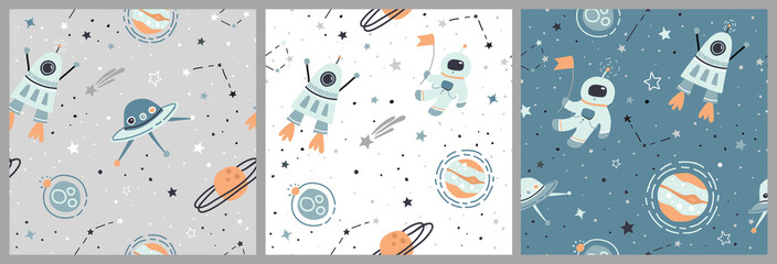 Estores personalizados con tu foto Seamless childish pattern set with hand drawn space elements space, satellite, planet, rocket, stars, space probe, constellations, meteorite, astronaut. Kids flat green, white, grey vector backgrounds