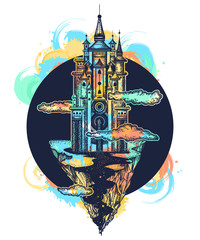 Medieval castle tattoo art. Symbol of the fairy tale, dream, magic. Ancient castle on the mountain. Medieval castle t-shirt design