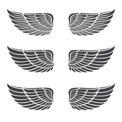 Vintage heraldic wings icons set, simple shape, editable items for graphic design of logos, isolated on white background. Hand drawn vector illustration.