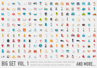 Vol 1. Flat big collection set icon of medical, invent, eco, architect, ranch, equipment, tool, tourism, travel, template, web, office, training, element, city, startup. For infographic illustration