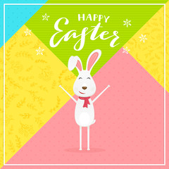 Abstract colorful background with rabbit and text Happy Easter