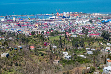 View from the observation deck on the georgian city of Batumi, Europe. Tourist center on the Black Sea coast