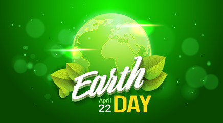 Earth Day Poster Design On Green Backgrorund Happy Holiday Greeting Card Planet Protection Concept Flat Vector Illustration