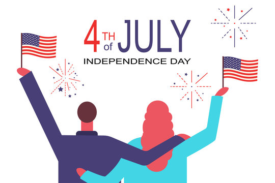 4th of July greeting card. Vector flat concept illustration of the Independence day in the USA. People with American flags in their hands enjoying fireworks isolated on a white background.