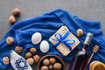 top view of matza, eggs and wine on table, Passover Tale concept