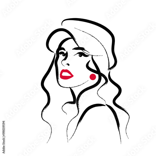 Vector artistic hand drawn stylish young lady portrait
