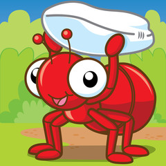 Red Ant Carrying a Grain, Cute cartoon, Cute vector
