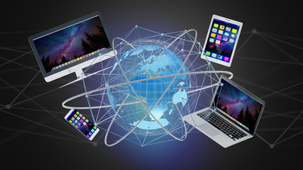 Computer and devices displayed on a futuristic interface with international network  - 3d render