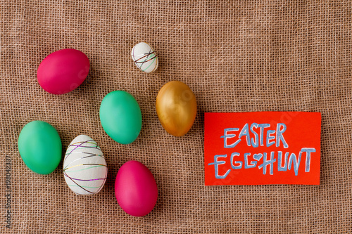 easter egg hunt easter colorful eggs painted in bright colors on
