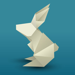 Origami Hare 3D. Paper Zoo. Vector rabbit for your design.