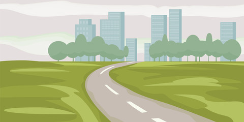 Road way to city buildings on horizon vector illustration, highway cityscape cartoon style, modern big skyscrapers town far away ahead, perspective landscape and city view, vector