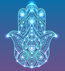 Neon illustration of blue Hamsa with boho pattern with neon lights and glow. Buddhas hand. Vector element for your sketch of tattoo, T-shirt print and your design.