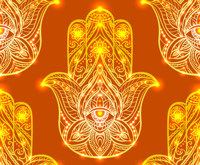 Seamless henna pattern with Hamsa. Boho Buddhas hand. Vector background for your wallpaper, textile and your design.