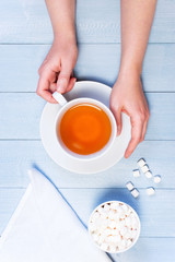 Female hands holding the cup of tea