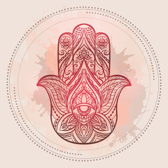 Henna illustration of Hamsa with boho pattern and watercolor spots in on light pink background. Buddhas hand.