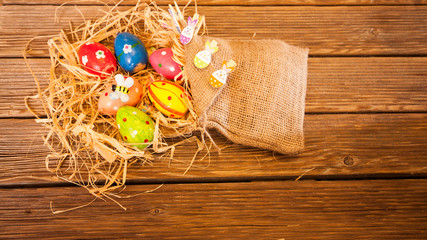 Happy Easter background, Bunny and Easter eggs in nest